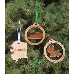 "3.5"" - Engraved States Hardwood Ornaments - USA-Made"