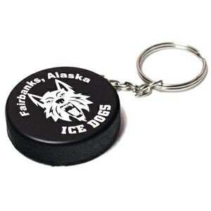 Hockey Puck Stress Reliever Keychain